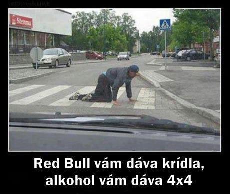 Red Bull vám dává křídla a alkohol dává 4x4